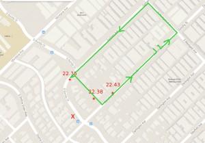 X = Tatort rote Markierungen: Standorte von Robert Heidstra grün = Route von Robert Heidstra (Zum Vergrößern auf Karte klicken)