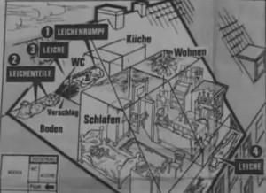 Tatort-Skizze des Dachgeschosses. Vorne das Mansardenapartment von Honka, dahinter der Dachspeicher und das Etagen-Klo