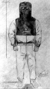 Eine Zeichnung vom Täter in seiner Verkleidung nach den Zeugenaussagen