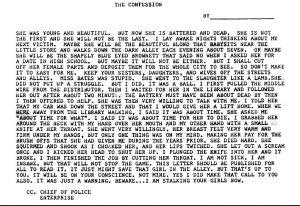 Geständnisbrief des Täters