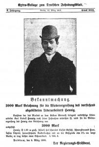 Karl Rudolf Hennig - Portrait - Fahndungsplakat
