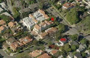 Von S nach N geblickt: X = Tatort. Aus diesem Bereich nahm Storfer auch das Hundegebell wahr. MS = Haus der Storfers (Zum Vergrößern auf Bild klicken)